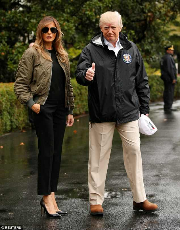 Confidence: Melania was mocked for her impractical footwear when she donned a pair of black Manolo Blahnik stilettos last August  to visit Hurricane-stricken Texas. Ms Karen believes the First Lady chooses this type of footwear to feel powerful