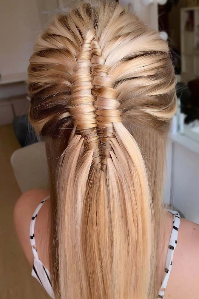 Braided Sleek Half-Ups Blonde #straighthair #longhair