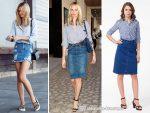 Лук с джинсовой юбкой – С чем носить джинсовую юбку-карандаш: как сочетать, фото образов